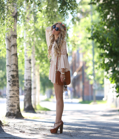 nude sheinside boho dress boho hippie indie peach