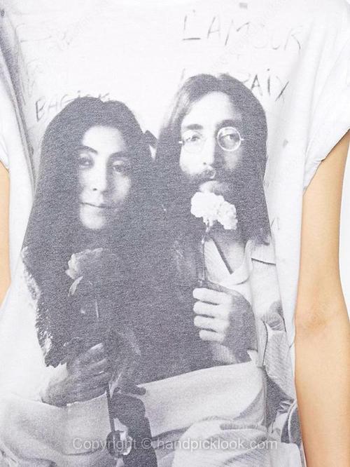 White Round Neck Short Sleeve John Lennon & Yoko Ono Print T-Shirt - HandpickLook.com