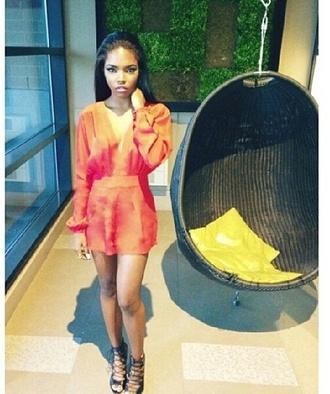 shoes romper orange dress lace up lace up heels blouse