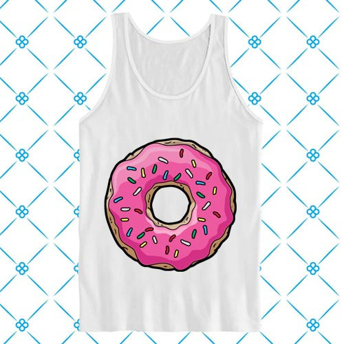 Sweet pink donut tank top, tank top men, tank top women, tank top girl, men tank top, girl tank top.