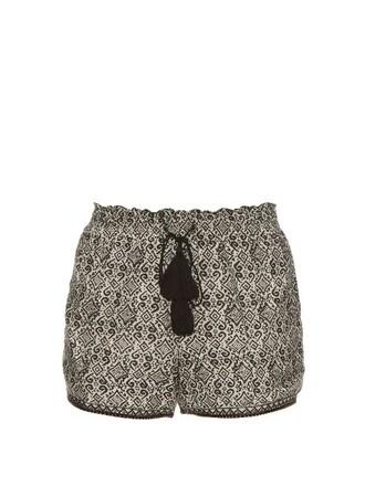shorts cotton print silk black