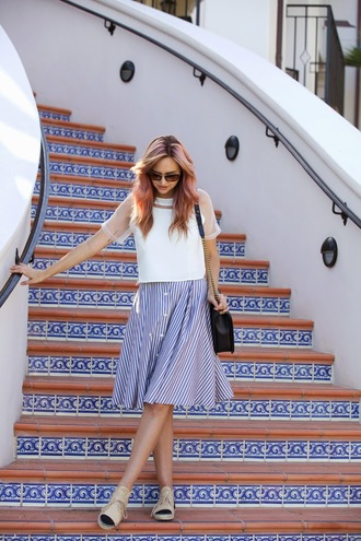 skirt shoes jewels top late afternoon bag sunglasses