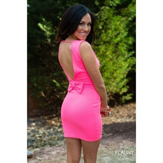 dress pink bow bowback backless dresss