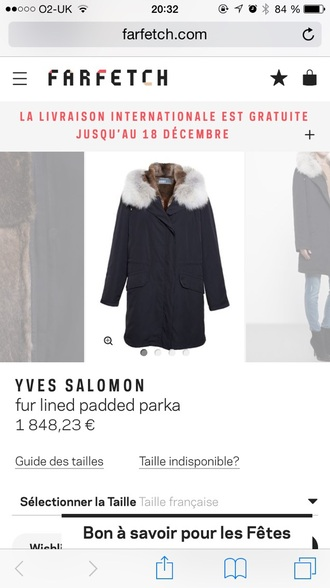 coat parka fur yves salomon navy blue and white winter coat