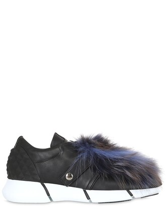 sneakers. fur fox sneakers leather blue black shoes