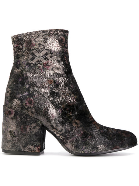 women ankle boots floral leather velvet shoes