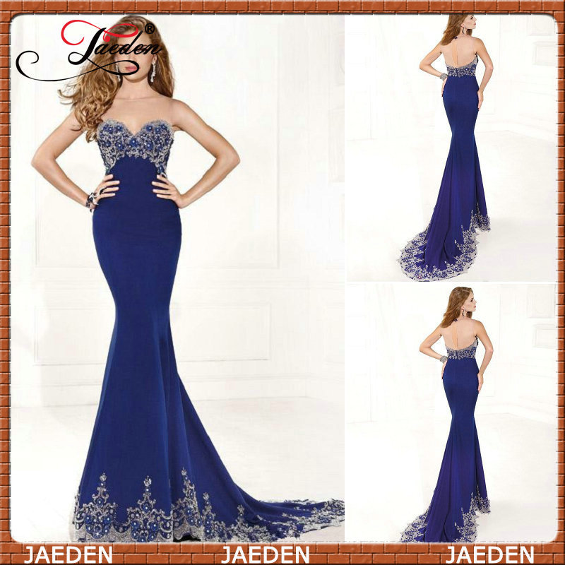 Royal Blue Mermaid Prom Dresses 2015