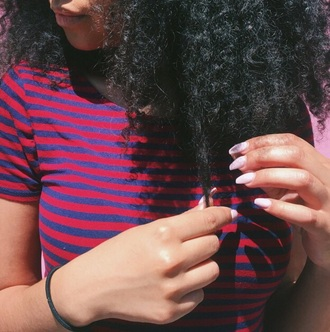 top cute curly hair shirt ops thirty cool indie grunge fashion tumblr tumblr shirt stripes striped shirt blue red black tumblr outfit