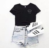 shirt,clouds,black shirt,graphic tee,black,black t-shirt,top,shorts,t-shirt,tumblr,rain
