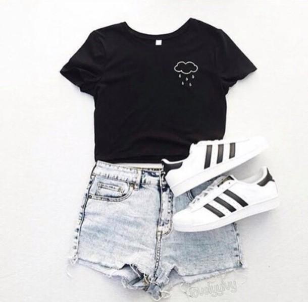 shirt clouds black shirt graphic tee black black t-shirt top shorts t-shirt - Adidas Originals Black T-shirt - Shop For Adidas Originals Black T