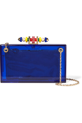 embellished clutch blue bag