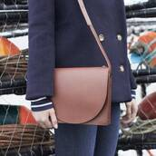 top,environmentally friendly,striped top,stripes,jacket,blue jacket,bag,brown bag,denim,jeans,blue jeans,sustainable