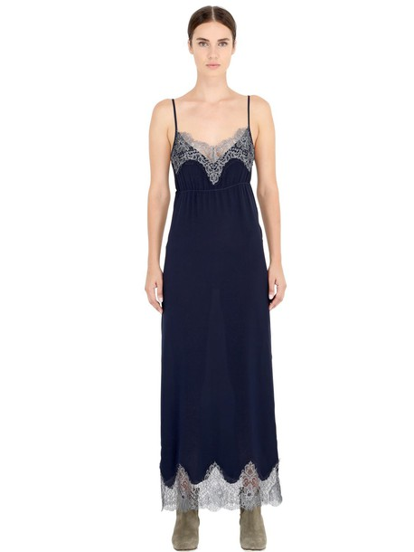 PINK MEMORIES dress metallic lace silk silver blue
