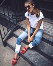 t-shirt,tumblr,white t-shirt,denim,jeans,blue jeans,patchwork,shoes,sandals,red sandals,flat sandals,sunglasses