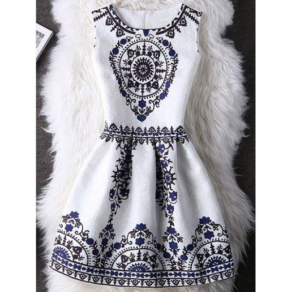 Tribal Pattern Zipper Design A Line Dress