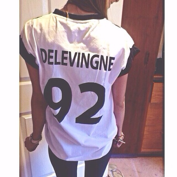 shirt cara delevingne white black