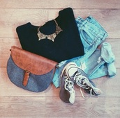 sweater,jeans,bag,jewels,brandy melville,neckleces