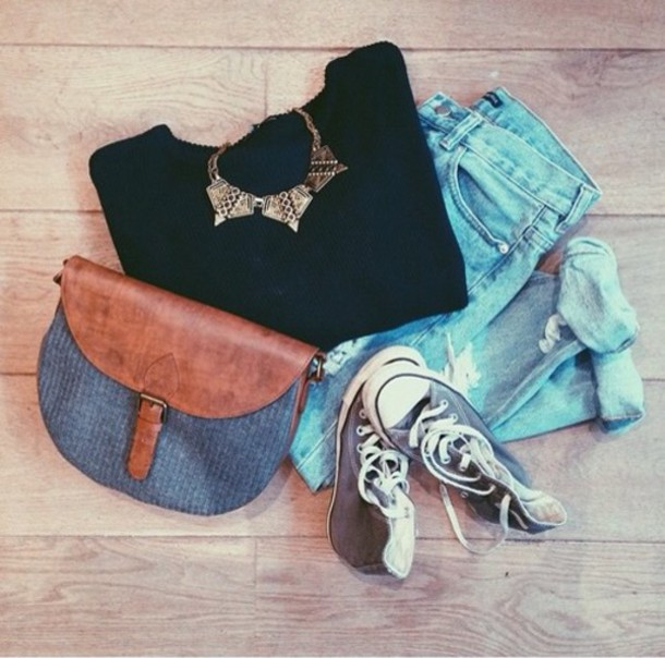 sweater jeans bag jewels brandy melville neckleces