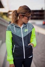 coat,nike sweater,nike jacket,nike,nike sportswear,neon adidas tracksuit
