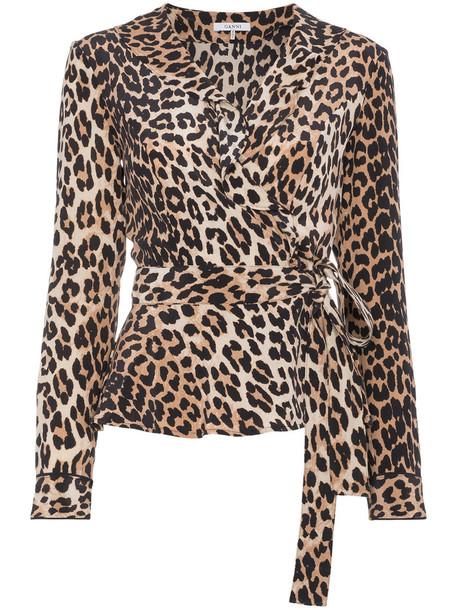 Ganni blouse women black silk top