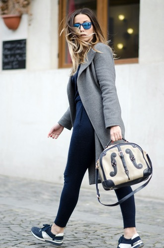 let's talk about fashion ! blogger sunglasses bag grey coat navy jumpsuit navy sneakers winter outfits