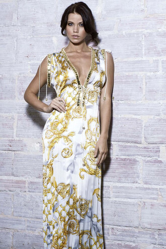 dress baccio gold print resort wear pants silk dresses white bikiniluxe
