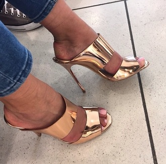 shoes gold sandals mules high heel sandals metallic shoes