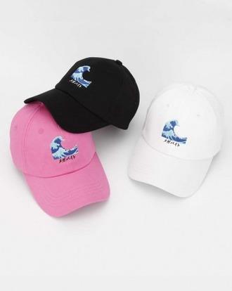 hat pink black white cap