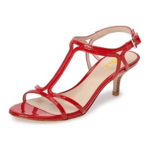 Red T Strap Sandals Open Toe Kitten Heels Sandals for Office Lady