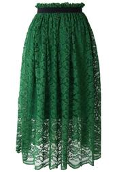 skirt,emerald green,green,full lace,midi skirt