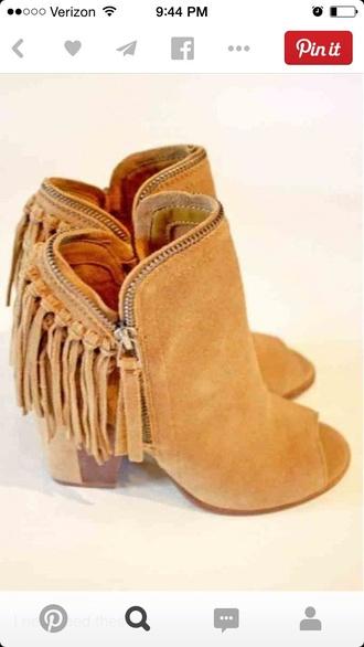 heels booties peep toe wedge boots fringes shoes