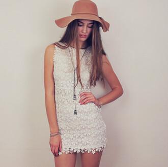 dress white dress mini dress lace dress floral lace high neck dress shift dress dusty junk white lace summer dress summer crochet white crochet dress crocheted white mini