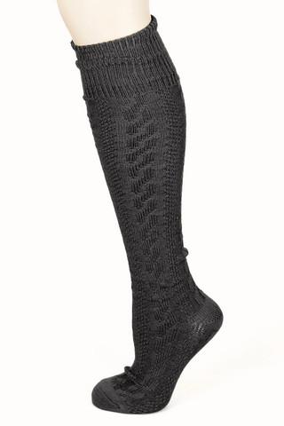 Cable knit knee socks in black