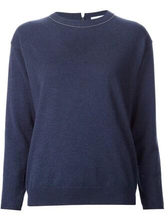 pullover back women blue sweater