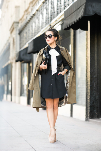 wendy's lookbook blogger coat dress shoes bag belt sunglasses jewels