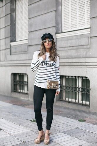 make-up gold bag tumblr round sunglasses top stripes striped top sandals wedges wedge sandals fisherman cap bag shoes hat