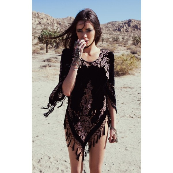Blu Moon Burnout Fringe Tunic
