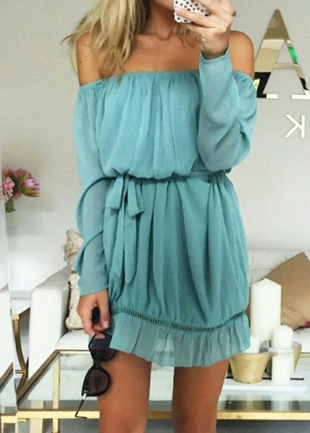c454108bfb8a dress disheefashion teal blue green romper jumpsuit chiffon summer girly off  the shoulder