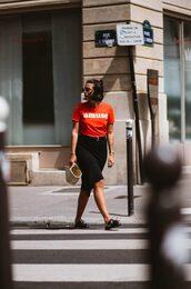 sophie van daniels,fashion & lifestyle blog with an addiction to interiør design,blogger,sunglasses,t-shirt,jewels,skirt,belt,bag,loafers,basket bag,red top,black skirt
