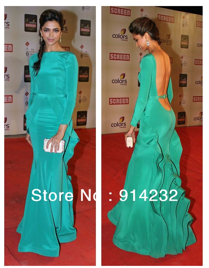 2013 Deepika Padukone Elegant Bateau Neck Long Sleeves Ruffles Open Back Mermaid Formal Celebrity Evening Dresses Gowns-in Celebrity-Inspired Dresses from Apparel & Accessories on Aliexpress.com