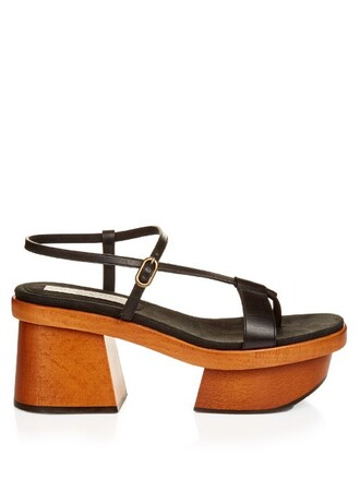 heel sandals platform sandals leather black shoes
