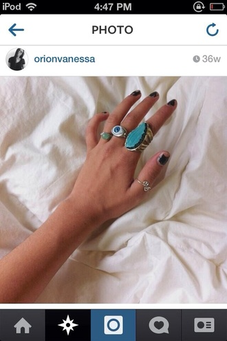 jewels teal thumb rings eye ring sage
