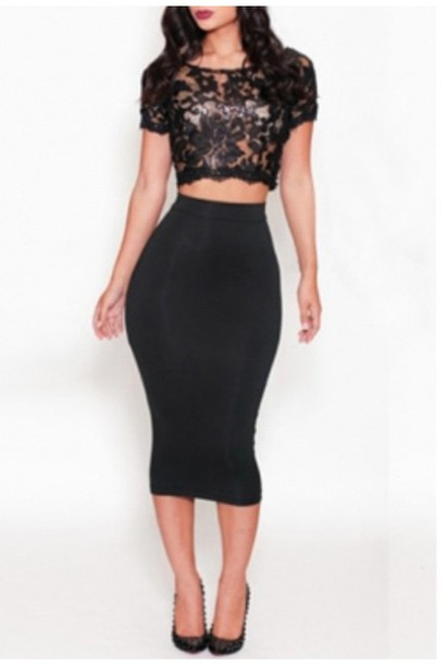 skirt skirt set black set pencil skirt pattern top