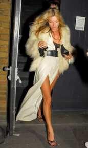 dress,kate moss,white dress,white,fur coat,style