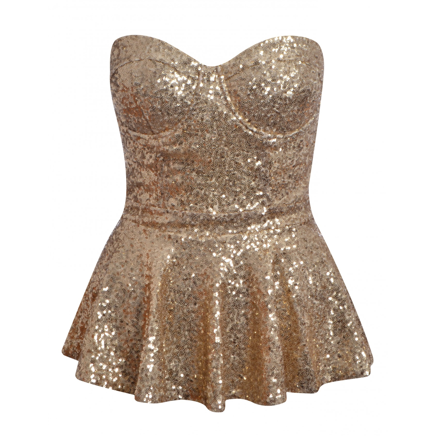 Michayla Gold Sequin Peplum Top