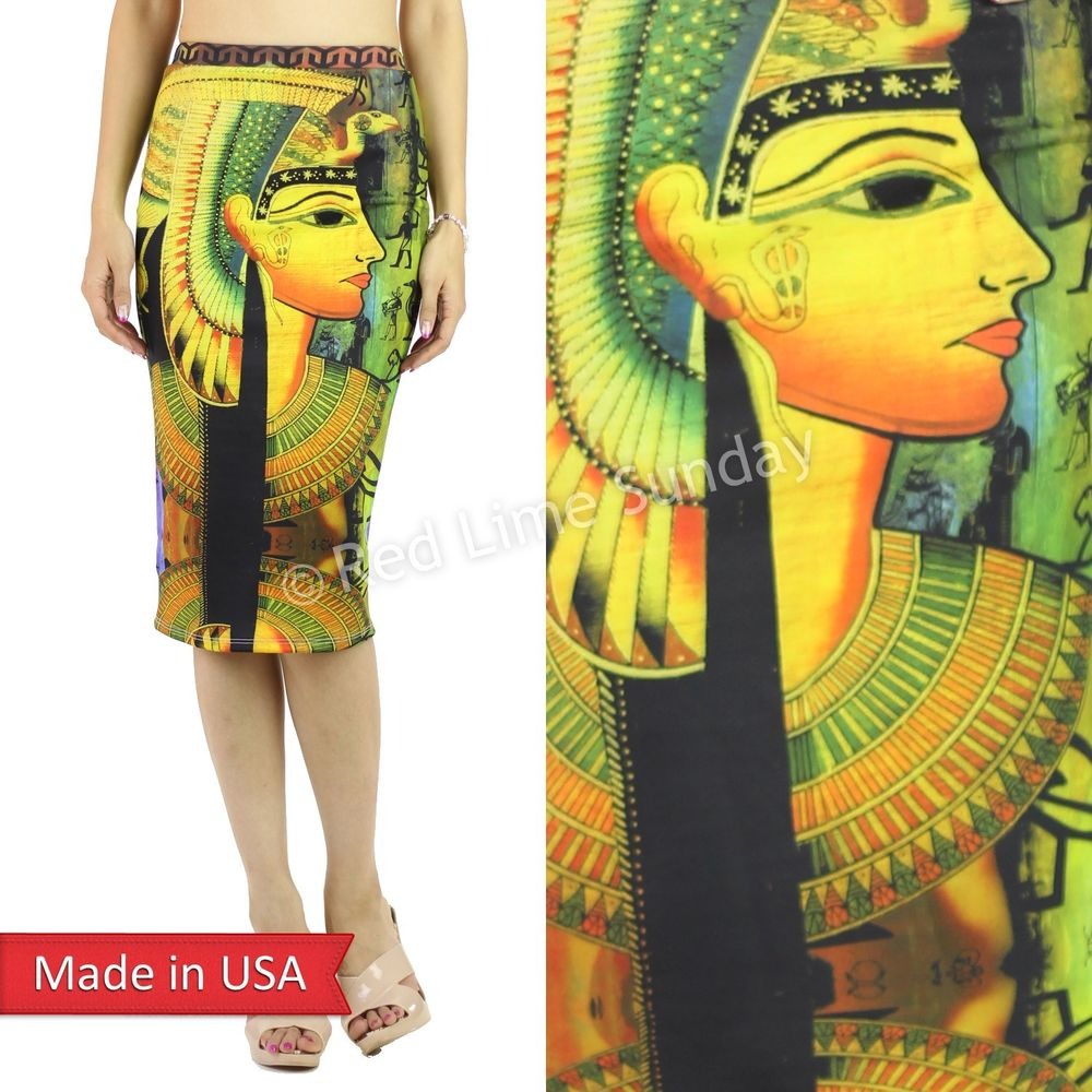 Women Color Fashion Egyptian Egypt Art King Tut Pharaoh Print Pencil Skirt USA