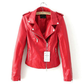 jacket,outerwear,outwear jacket,red,pu jacket,faux leather,zippers jacket,biker jacket