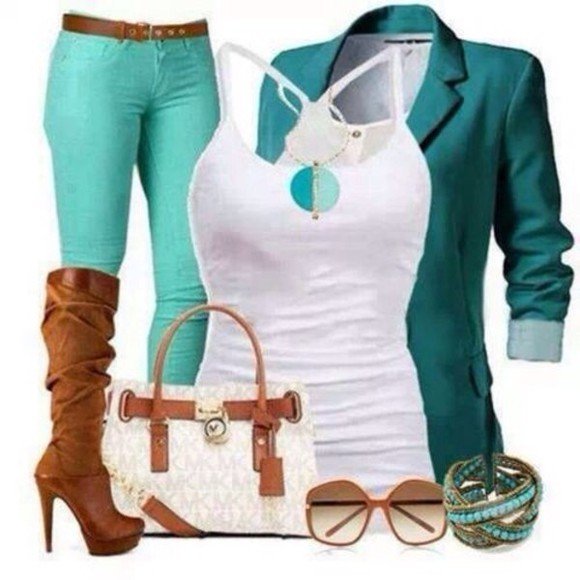 jacket green jacket bag jeans green top shoes tank top