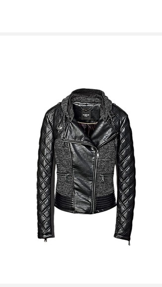 knit bebe black quilted leather