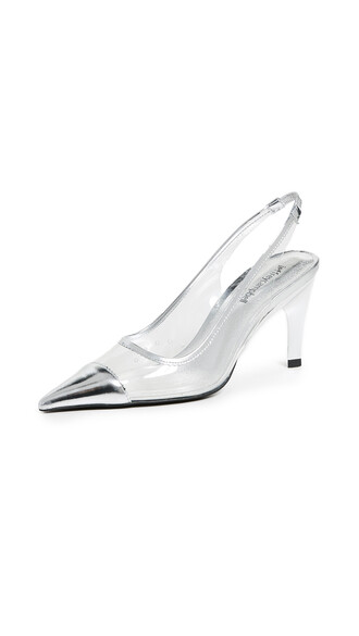 pumps clear silver shoes